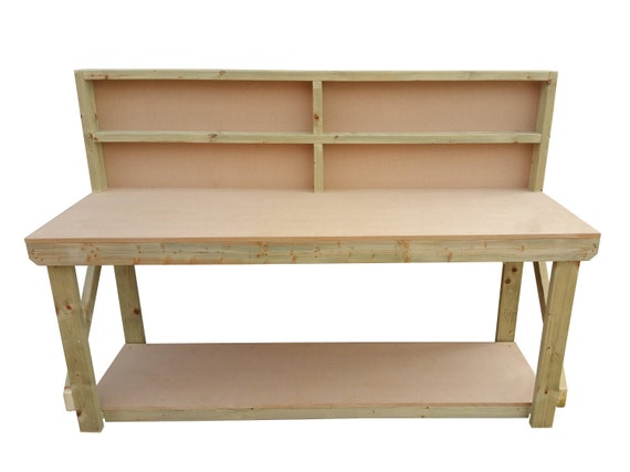 Tremendous Mdf Wooden Work Bench With Back 4Ft To 8Ft Andrewgaddart Wooden Chair Designs For Living Room Andrewgaddartcom