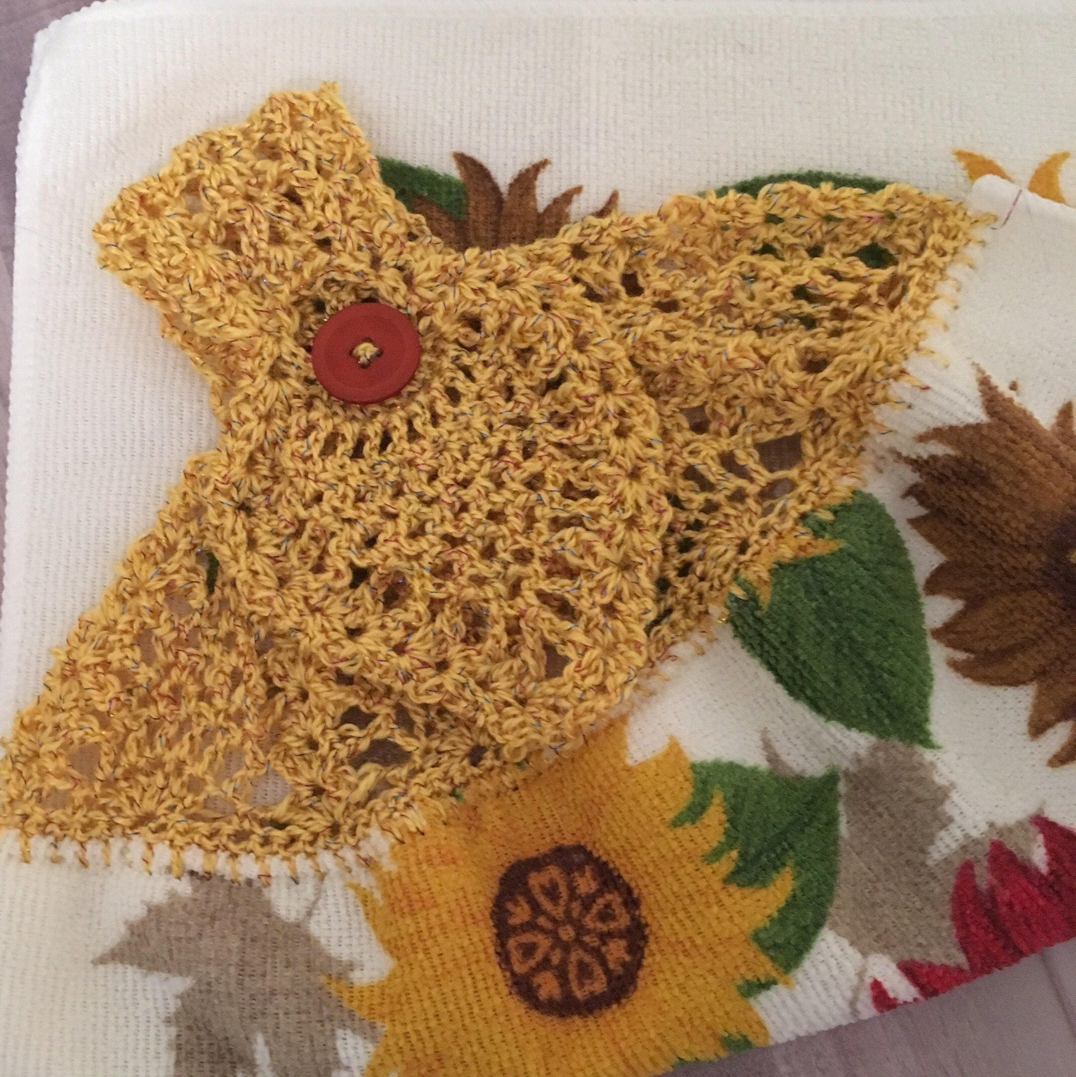 Sonnenblume Handtuch mit ausgefallenen häkeln Top Mikrofaser