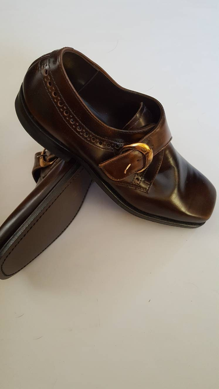 1960s – 70s Men's Ties | Skinny Ties, Slim Ties New 1960S Era Vintage Mens Square-Toe Brown Leather Shoes With Side Buckle By Calmut. Size 8D. Free Shipping $0.00 AT vintagedancer.com