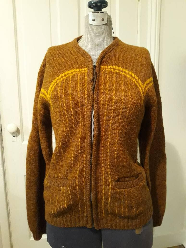 1960s – 70s Men's Ties | Skinny Ties, Slim Ties Vintage 1960S Era Mens Wool Cardigan. Brown Gold, Zip Front, Pockets. Some Small Holes, See Photos. Size SSmall. Free Shipping $0.00 AT vintagedancer.com