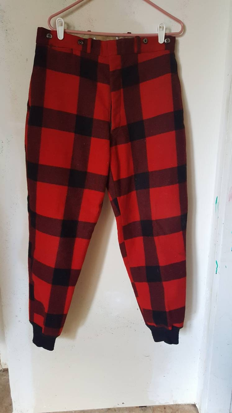 1950s Mens Hats | 50s Vintage Men's Hats Vintage 1950S Era Wool Insulated Pants From Montgomery Ward. Red Plaid, Fully Lined With Cuffed Legs. Mens Size LLarge. Free Shipping $0.00 AT vintagedancer.com