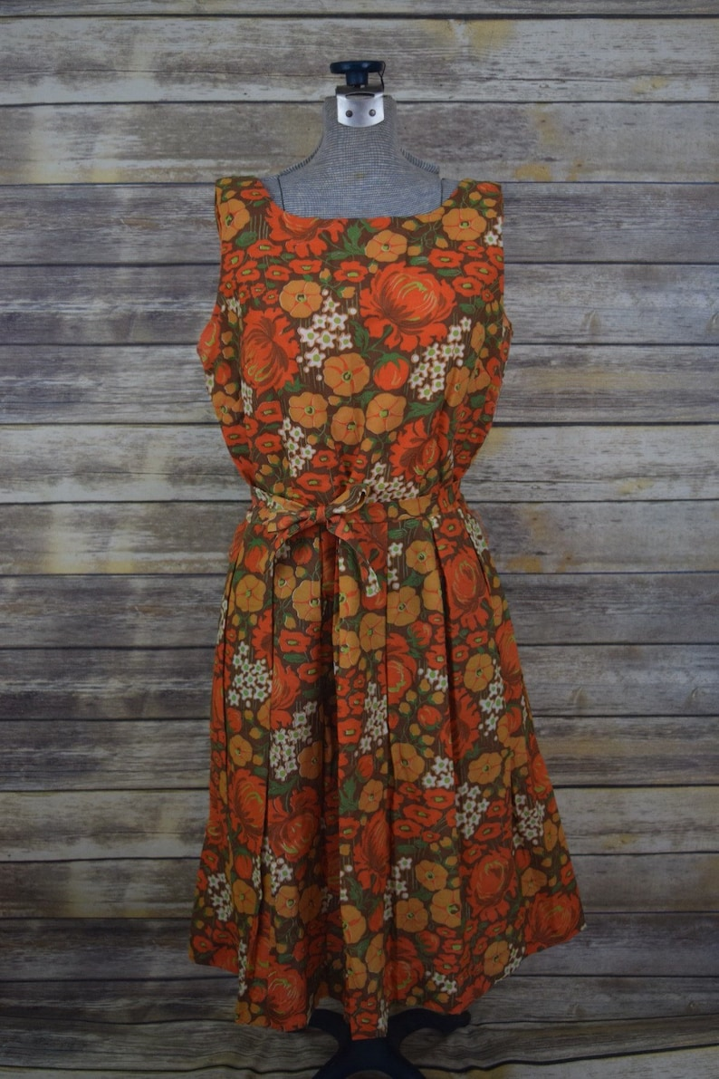 b8ea14d3529cc Vintage 1960s handmade brown orange mustard floral dress/ | Etsy
