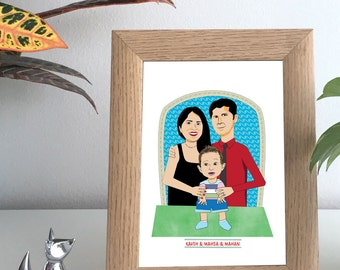 Family Portrait Illustration-Custom Portrait From Photo-Personalized Gift-Anniversary Gift-Wedding Gift-Gift idea-Gift for her-Gift for him