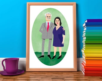Couple Portrait Illustration-Custom Portrait From a Photo-Personalized Gift-Anniversary Gift-Wedding Gift-Last Minute Gift-Printable Print