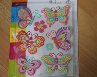 Stickers 3D butterflies and flowers theme