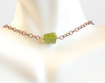 Peridot Necklace/Raw Gemstone Necklace/  Raw Peridot Necklace/ August Birthstone/ Gift for Her/ Natural Peridot Necklace/under 35