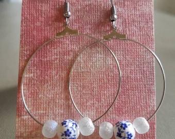 Blue and white drop hoop earrings