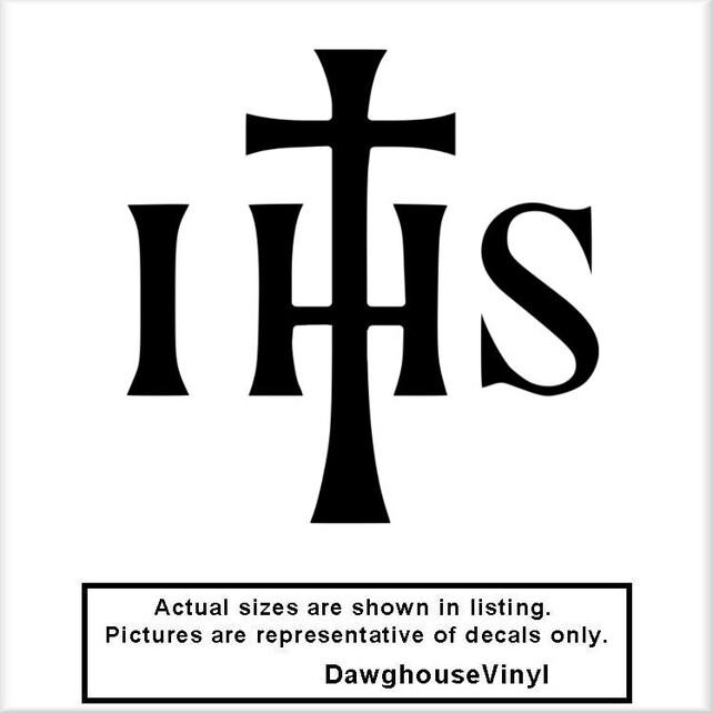 Ihs Cross V1 Vinyl Decal Jesus Christian Symbol Religion Car Etsy