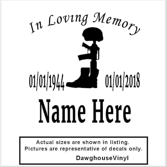 In Loving Memory W Battlefield Cross V60 Vinyl Decal Army Etsy Gorgeous In Memoriam Of A Loved One