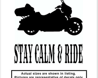 Stay Calm & Ride MC11 v1 Vinyl Decal Motorcycle Awareness Chopper Cruiser Bike Ride Patriot Freedom