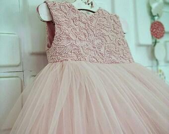 ac2e7f630ac8 Blush flower girl dress