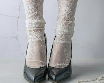 27a72ef064a Ivory Lace Socks - Bridal Lace socks - French lace Socks - White socks -  White tulle socks - Fashion socks - Designer socks socks for woman