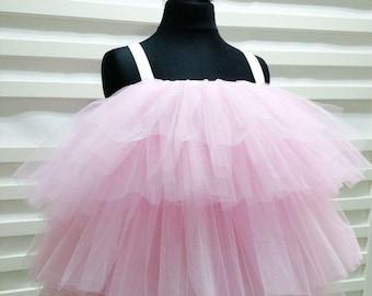 PRINCESS SUMMER PARTY TUTU Plain Light Pink White striped tutu dress with Bow