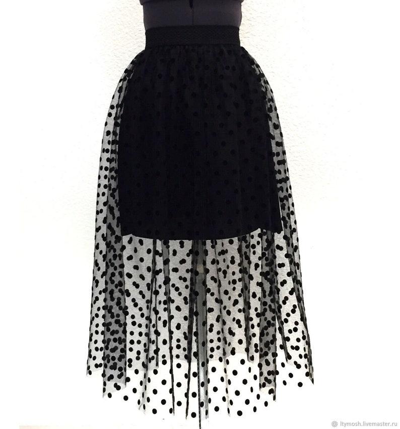 b57307a90b Polka dot tulle skirt black polka dots maxi Tulle skirt