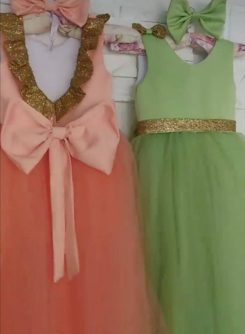 Green Tulle dress Flower girl dress Glam Girl First Birthday Dress Green dress Silver Baby Tulle dress Princess dress Big bow dress
