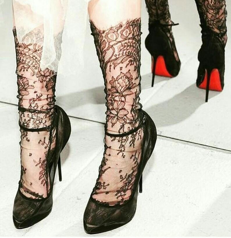 7f8c8a4e4 Black Lace Socks Bridal Lace socks Sexy Socks White
