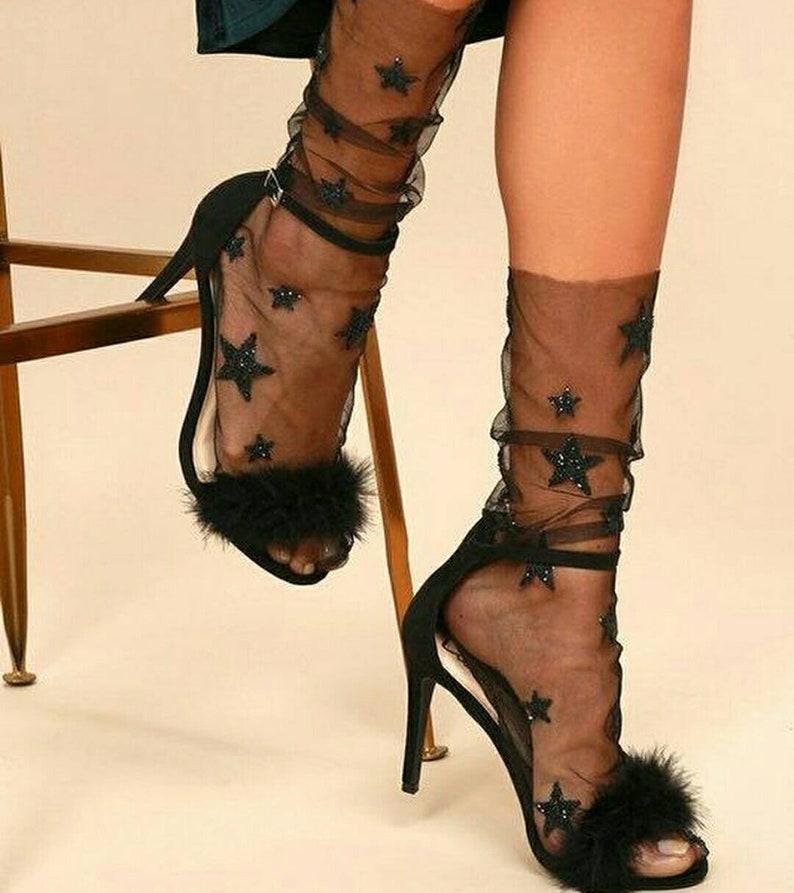 8dfaae324 Tulle socks Tulle socks with stars Tulle socks Black
