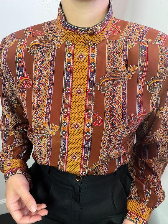 Vintage paisley poly silk blouse