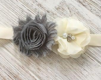 Gray Ivory Flower Sash, Flower Girl Sash, Maternity Belt Sash, Bridesmaid Belt Sash, Wedding Belt Sash, Bridal Belt Sash,  Prom Sash Belt