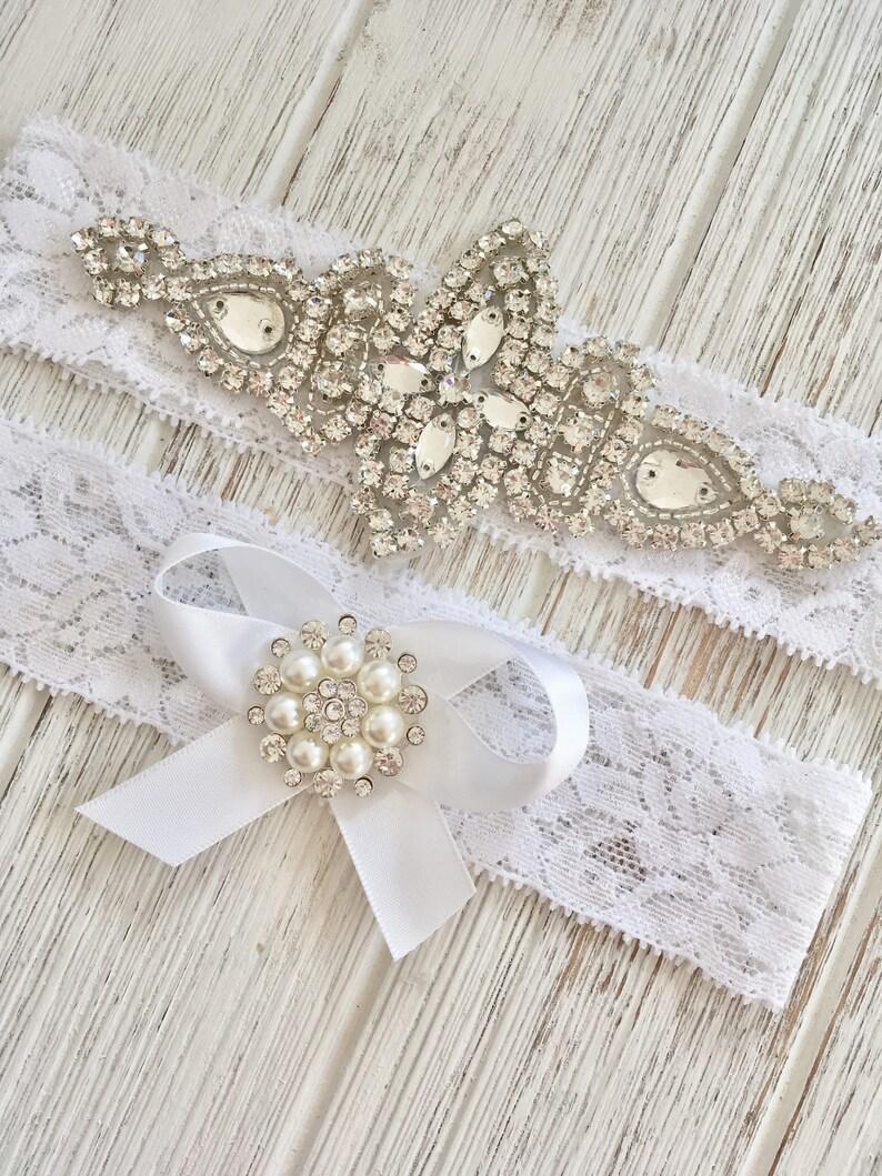 White Wedding Garter Set Lace Garter Set Vintage Wedding White Bridal Garter Set Pearl Crystal Garter Garter Set Rhinestone Garter Set
