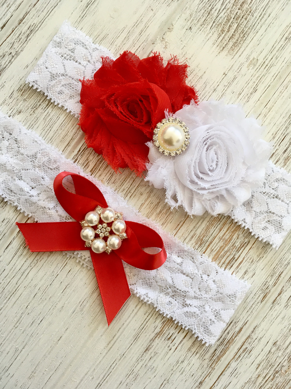 Rhinestone Garter White Lace Garter White Bridal Set Vintage Inspired Garter Set Lace Toss Garter Red White Red Wedding Garter For Prom