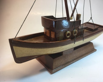 Perky Little Hand-Made, All-Wood Model Work Boat w Style and Flair, for Display