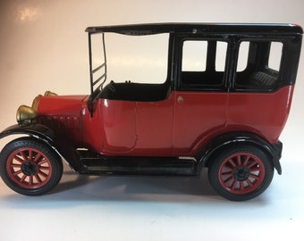 Cast Iron Red and Black Vintage 1917 Model T with Rubber Tires, Gold Trim, 5.5""