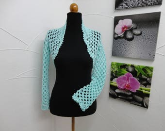 Bolero, hand crocheted turquoise shoulders warmer in wool