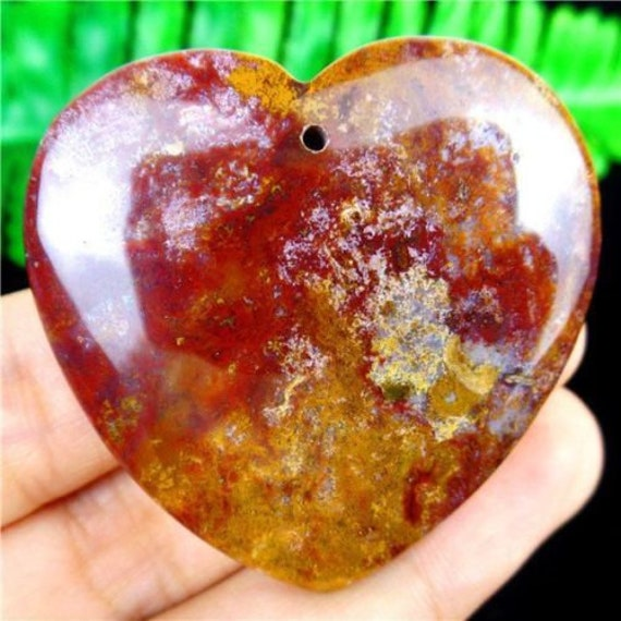 Jaspe océan variolite pendentif pierre fine 45x43x7mm sculpté coeur gemme reiki chakra racine magique lithothérapie accouchement