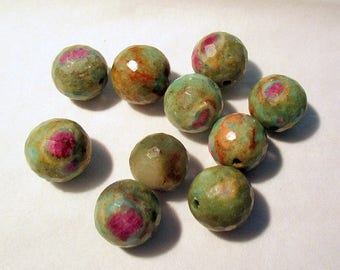 Ruby Fuchsite - faceted - pierced - ref92859 - 12mm - 10 x