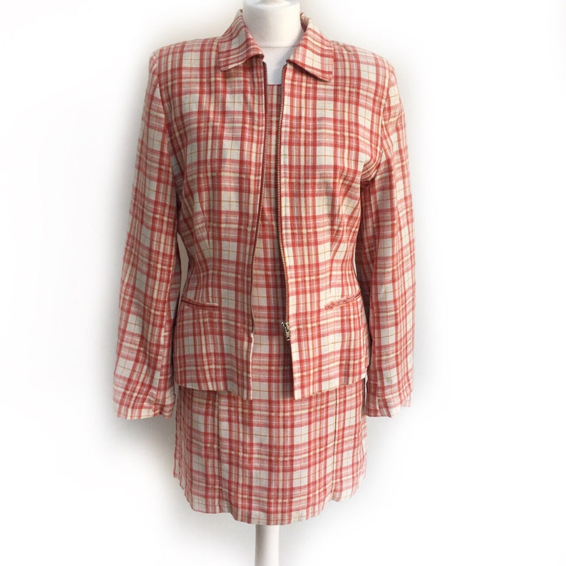 Plaid Dress Chic Two Piece Vintage Jacket Clueless Dress Plaid Jacket 90s Dress 90s Jacket Vintage Two Piece Vintage Dress