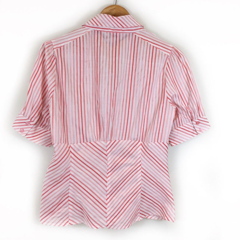 Striped Top Boho Top Formal Top Retro Blouse Retro Top 50s Style Top Summer Top Striped Shirt Chic Top
