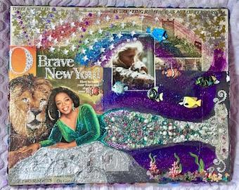 Brave New You! (Mermaid Oprah) [2016] Mixed media collage original unique Oprah Winfrey artwork O The Oprah Religion