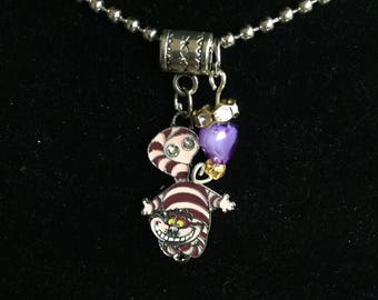 Handmade Purple Cheshire Pendant necklace and Charm