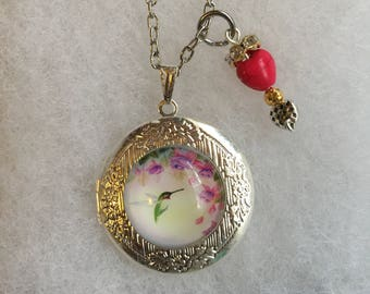 Handmade Humming Bird Locket Necklace and Charm