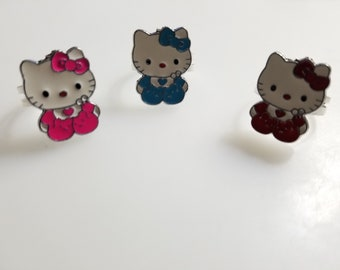 a964aaf3c 3 Pcs Handmade Hello Kitty Adjustable Ring Set PInk/Blue/Red