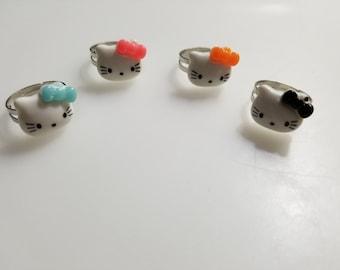 c842af3da 4 Pcs Handmade Hello Kitty Adjustable Ring Set PInk/Blue/Orange/Black