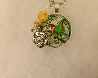 Handmade Hummingbird Necklace with Charm
