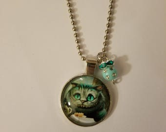 Handmade Green Cheshire Necklace with Pendant