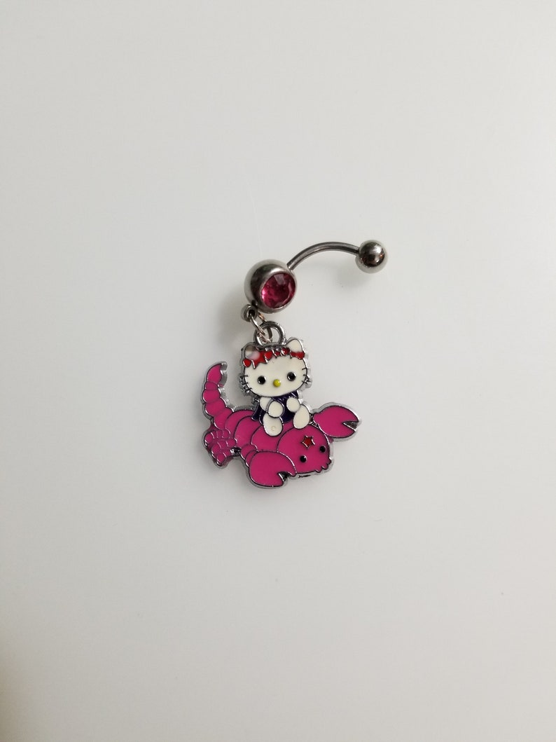 Handemade Pink Lobster Hello Kitty Belly Ring