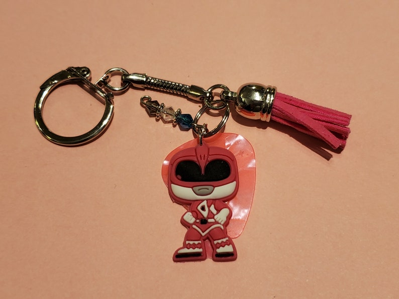 Handmade Pink Ranger keychain with Charms