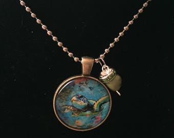 Green Handmade turtle necklace with charm