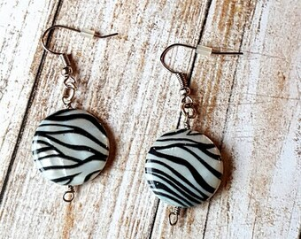 Black And White Zebra Stripe Print Earrings