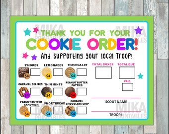 graphic regarding Girl Scout Cookie Thank You Notes Printable titled Cookie acquire variety Etsy