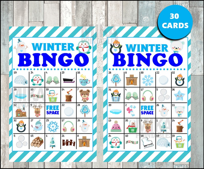graphic regarding Winter Bingo Cards Free Printable called Printable 30 Wintertime Bingo Playing cards; printable Snowman Bingo video game, Penguin printable bingo playing cards immediate down load