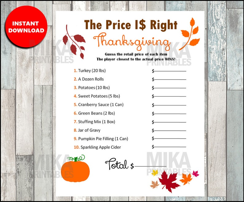 The price is right printable thanksgiving game thanksgiving image 0