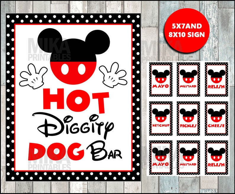 graphic relating to Hot Diggity Dog Bar Free Printable identified as Printable Mickey Mouse 5x7 and 8x10 Scorching Diggity Puppy Bar Celebration Signal, Condiment Labels, Quick Down load