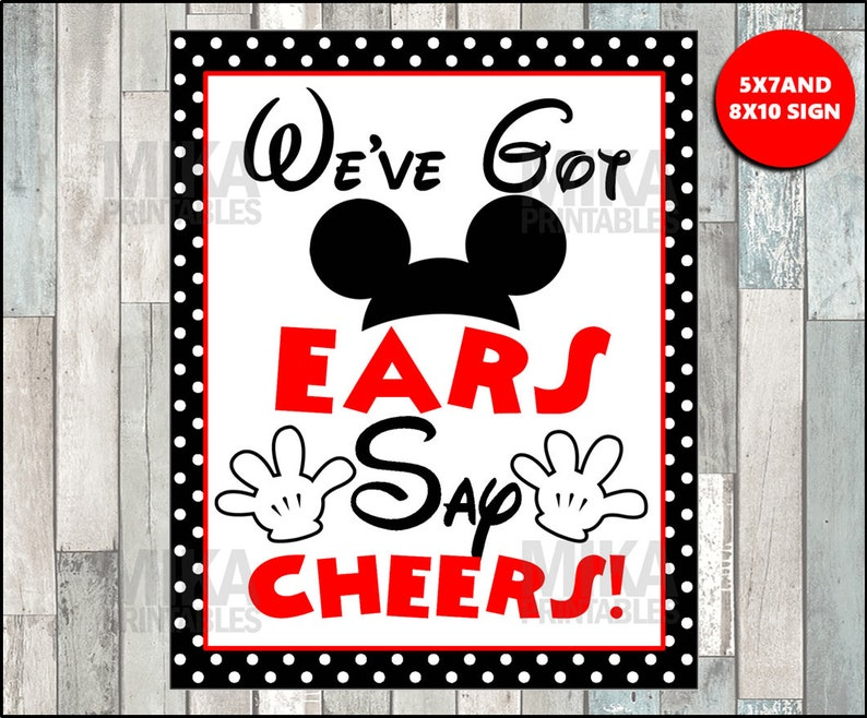 Printable Mickey Mouse We've Got Ears Say Cheers 5x7 or   Etsy