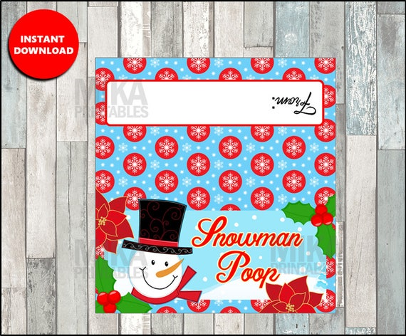 Snowman Poop Treat Bag Labels Funny Christmas Bag Toppers Etsy