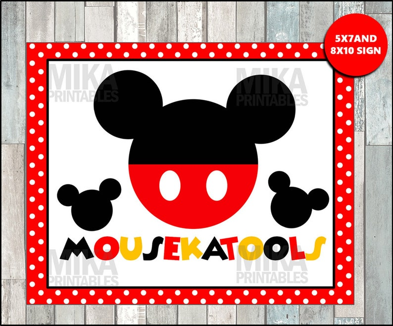 photo relating to Free Printable Mickey Mouse Signs identified as Printable Mickey Mouse 5x7 and 8x10 Mousekatools Celebration Indication, Quick Obtain